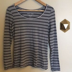 Anthropologie Pure + Good stripe long sleeve top.